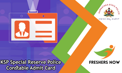 KSP Special Reserve Police Constable Admit Card